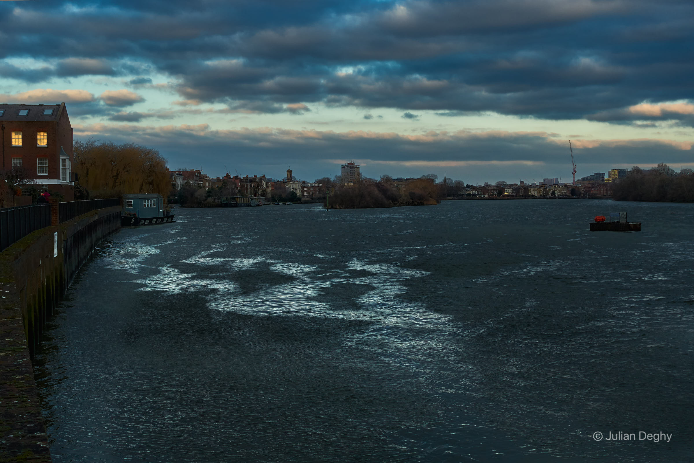 Looking Downstream on the Thames from Chiswick Mall